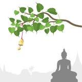 Árbol de Bodhi con la campana de oro de la tradición tailandesa, Visakha Puja Day stock de ilustración
