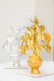 Árbol de Bodhi del oro y de la plata (árbol de BO o pipal) Fotos de archivo libres de regalías