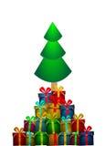 Árbol de Chritmas del vector con los regalos Imagen de archivo libre de regalías