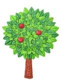 Árbol de Clay Apple en un fondo blanco con rojo Imagen de archivo