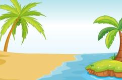 Árbol de coco de Palmand en orilla de mar stock de ilustración