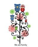 Árbol de familia del buho stock de ilustración