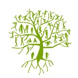 Árbol de familia, parientes, siluetas de la gente Fotografía de archivo