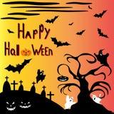 Árbol de Halloween contra un ejemplo frecuentado del cementerio libre illustration