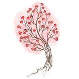 Árbol de la acuarela con los corazones Imágenes de archivo libres de regalías