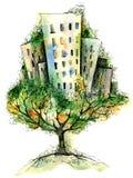 Árbol de la ciudad ilustración del vector