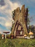 Árbol de la fantasía con un estante stock de ilustración