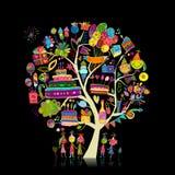 Árbol de la fiesta de cumpleaños para su diseño fotografía de archivo
