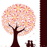 Árbol de la flor de la primavera con los gatos del amor Imagen de archivo libre de regalías