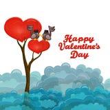 Árbol de la forma del corazón con los pares de los pájaros que cantan canción de amor Imágenes de archivo libres de regalías