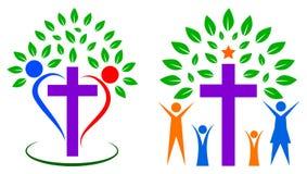 Árbol de la gente del cristianismo stock de ilustración