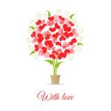 Árbol de la invitación de boda de corazones Fotografía de archivo libre de regalías