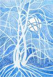 Árbol de la noche del invierno de la pintura Fotos de archivo