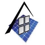 Árbol de la pieza de los paneles solares Imagen de archivo