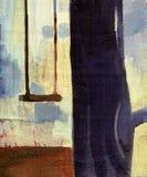 Árbol de la pintura al óleo Imágenes de archivo libres de regalías