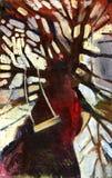 Árbol de la pintura al óleo Fotos de archivo