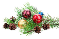 Árbol de la rama de la Navidad con la decoración Imágenes de archivo libres de regalías