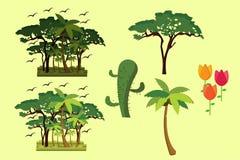 Árbol de la selva de la naturaleza y palma y flores libre illustration