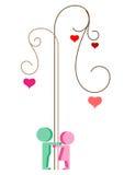Árbol de la tarjeta del día de San Valentín Fotografía de archivo libre de regalías