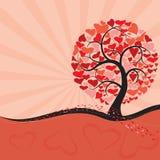Árbol de la tarjeta del día de San Valentín Imágenes de archivo libres de regalías
