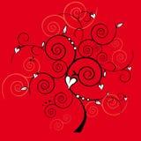 Árbol de la tarjeta del día de San Valentín Foto de archivo libre de regalías