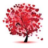 Árbol de la tarjeta del día de San Valentín, amor, hoja de corazones stock de ilustración
