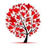 Árbol de la tarjeta del día de San Valentín, amor, hoja de corazones Foto de archivo libre de regalías