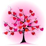 Árbol de la tarjeta del día de San Valentín, amor, hoja de corazones Imagenes de archivo