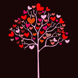 Árbol de la tarjeta del día de San Valentín con los corazones Foto de archivo libre de regalías