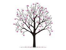 Árbol de la tarjeta del día de San Valentín con los corazones ilustración del vector