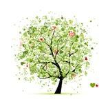 Árbol de la tarjeta del día de San Valentín con los corazones para su diseño stock de ilustración