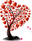 Árbol de la tarjeta del día de San Valentín del corazón rojo Imagen de archivo libre de regalías