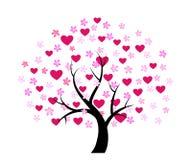 Árbol de la tarjeta del día de San Valentín del día Foto de archivo libre de regalías