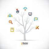 Árbol de la tecnología, negocio y trayectorias de ramificación Imágenes de archivo libres de regalías