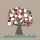 Árbol de la tela del vector con la copa de árbol de los botones Fotografía de archivo