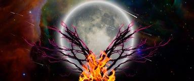 Árbol de la vida ardiendo ilustración del vector