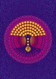 Árbol de la vida en un fondo de una mandala púrpura con las hojas amarillas Aum, OM, ohmio, símbolo Vector Fotos de archivo