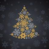 Árbol de los copos de nieve de la plata y del oro de la Navidad Fotos de archivo
