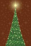 Árbol de los crhistmas de la estrella en tarjeta Fotos de archivo