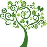 Árbol de los iconos del concepto de la energía de Eco - 2 Foto de archivo libre de regalías