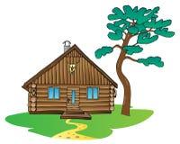Árbol de madera de la cabina y de pino Foto de archivo