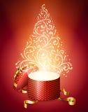 Árbol de navidad abstracto de la caja de regalo stock de ilustración