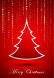 Árbol de navidad abstracto en fondo rojo Imagen de archivo