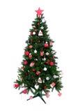 Árbol de navidad adornado con el ornamento del remiendo Imagenes de archivo