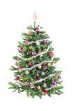 Árbol de navidad adornado con la guirnalda Imagen de archivo
