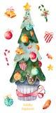 Árbol de navidad adornado con las bolas de la Navidad, caramelo, campanas de oro, anm del caramelo más Imagen de archivo