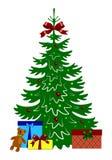 Árbol de navidad adornado con las cajas de regalo y el oso de peluche stock de ilustración
