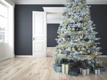 Árbol de navidad adornado con las porciones de presentes representación 3d Imagen de archivo