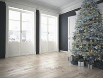 Árbol de navidad adornado con las porciones de presentes representación 3d Foto de archivo