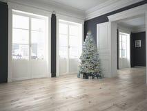 Árbol de navidad adornado con las porciones de presentes representación 3d Fotos de archivo libres de regalías